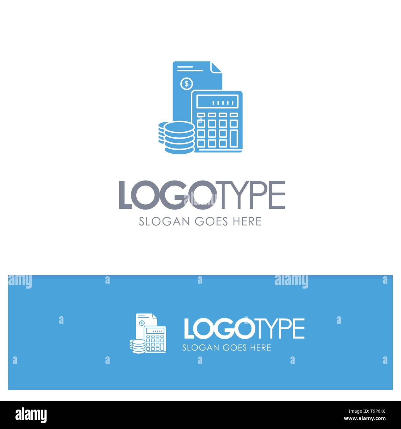 Investment, Accumulation, Business, Debt, Savings, Calculator, Coins Blue Solid Logo with place for tagline - Stock Image