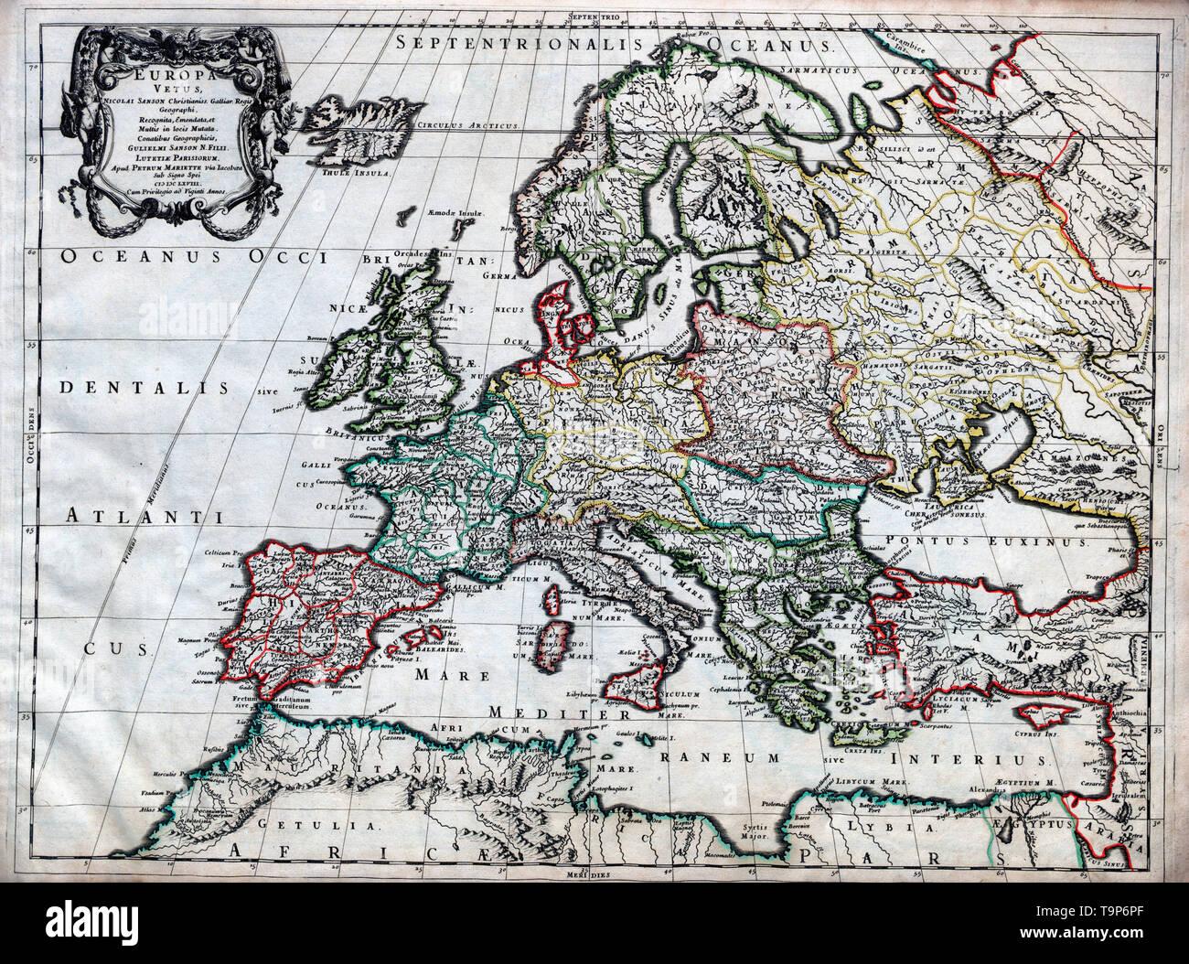 Cartina Europa 1700.Map Of Europa Vetus Sanson Atlas Circa 1700 Stock Photo Alamy