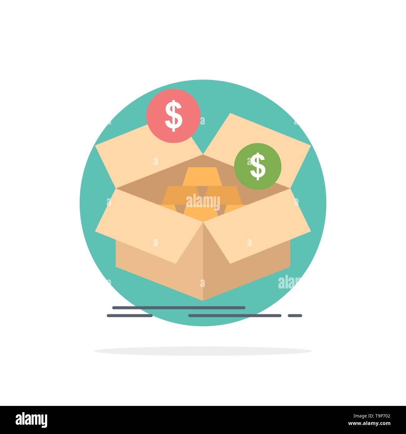savings, box, budget, money, growth Flat Color Icon Vector - Stock Image