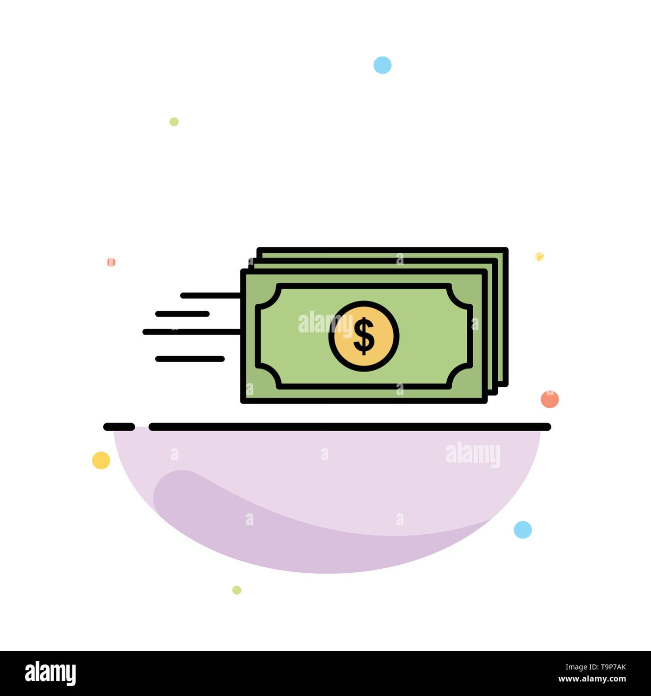 Dollar, Business, Flow, Money, Currency Abstract Flat Color Icon Template - Stock Image