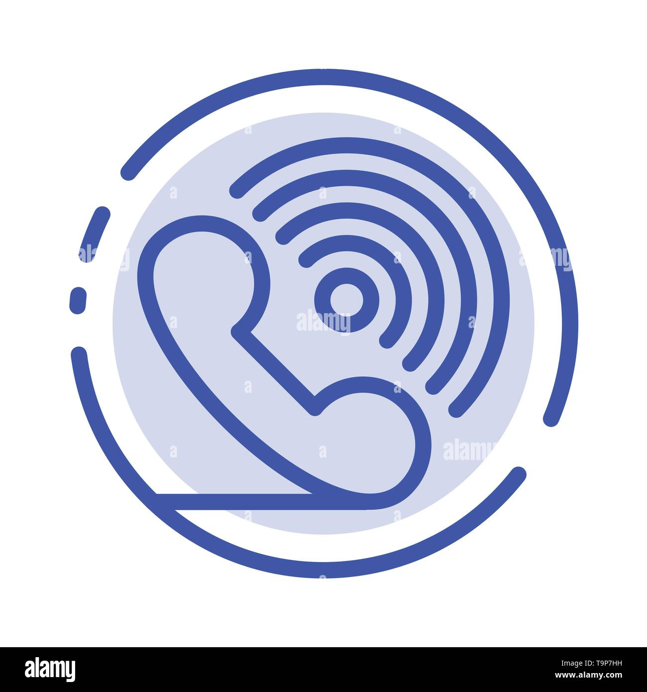 Call, Phone, Receiver, Ring, Signals Blue Dotted Line Line Icon - Stock Image