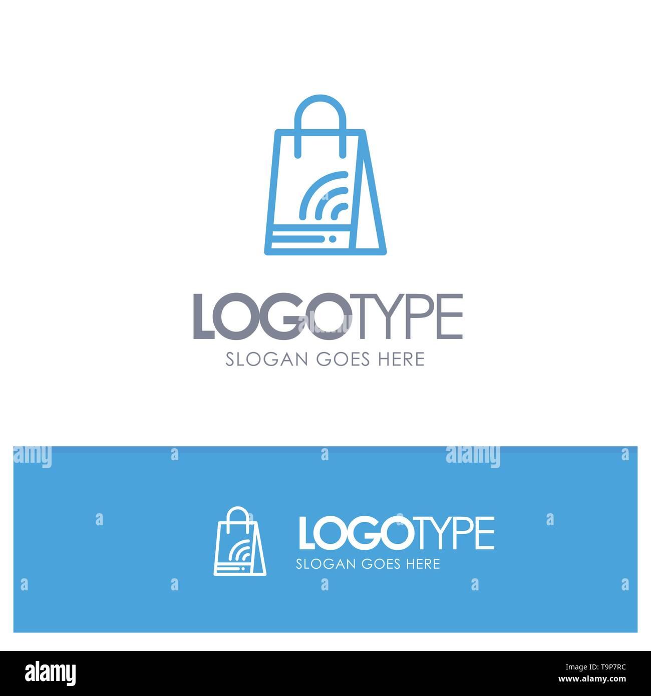 Bag, Handbag, Wifi, Shopping Blue outLine Logo with place for tagline - Stock Image