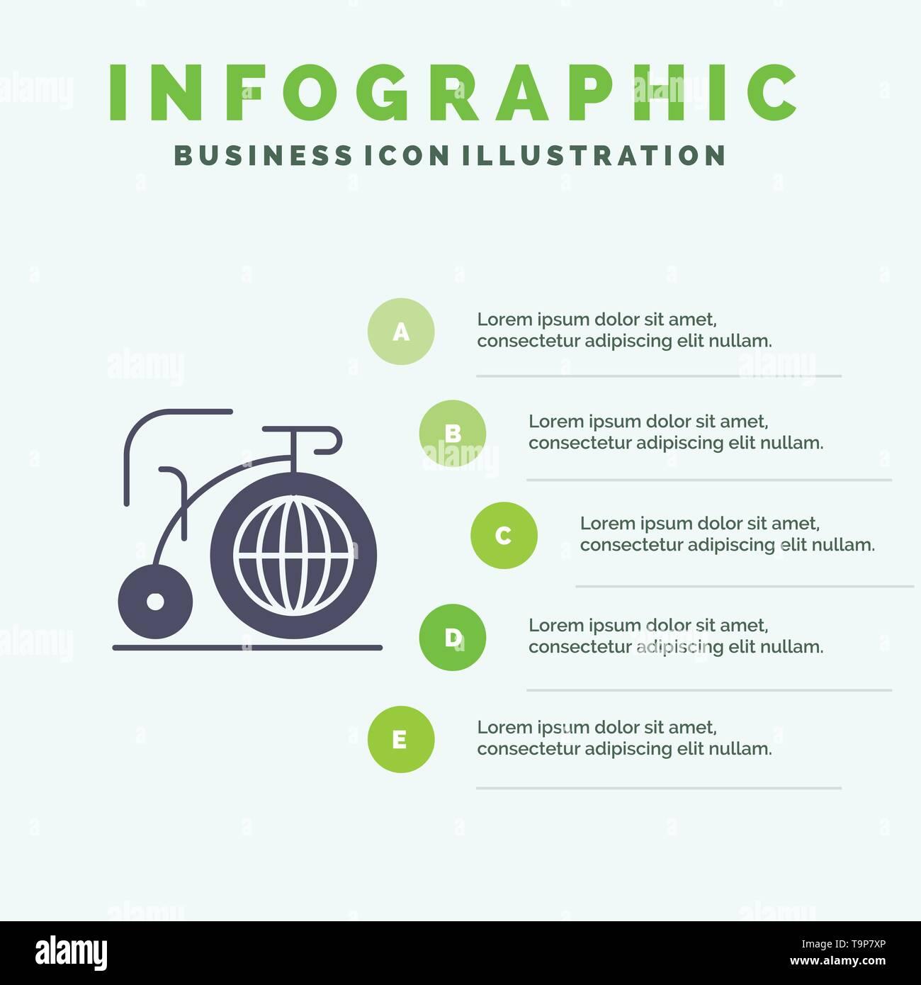 Big, Bike, Dream, Inspiration Solid Icon Infographics 5 Steps Presentation Background - Stock Image