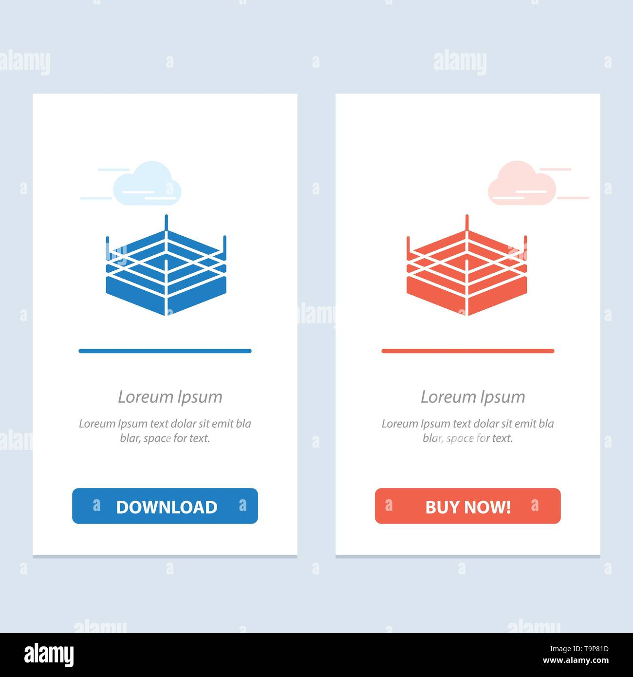 Boxing, Ring, Wrestling  Blue and Red Download and Buy Now web Widget Card Template - Stock Image