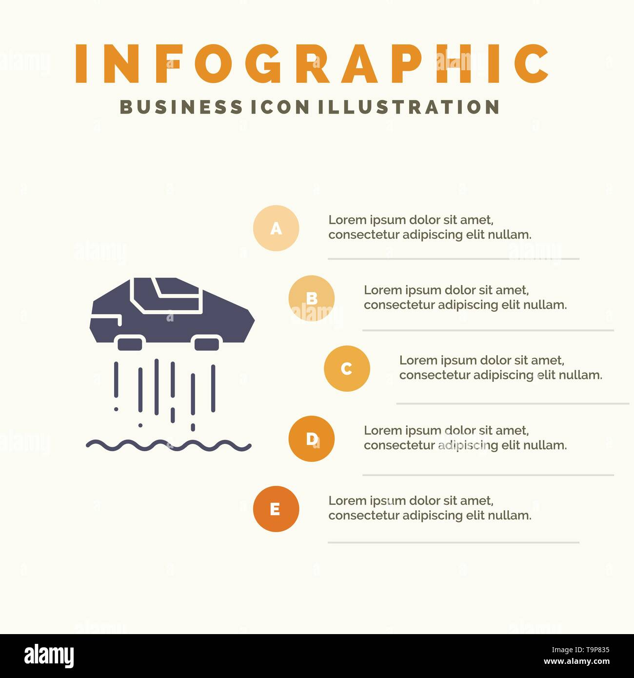 Hover car, Personal, Car, Technology Solid Icon Infographics 5 Steps Presentation Background - Stock Image
