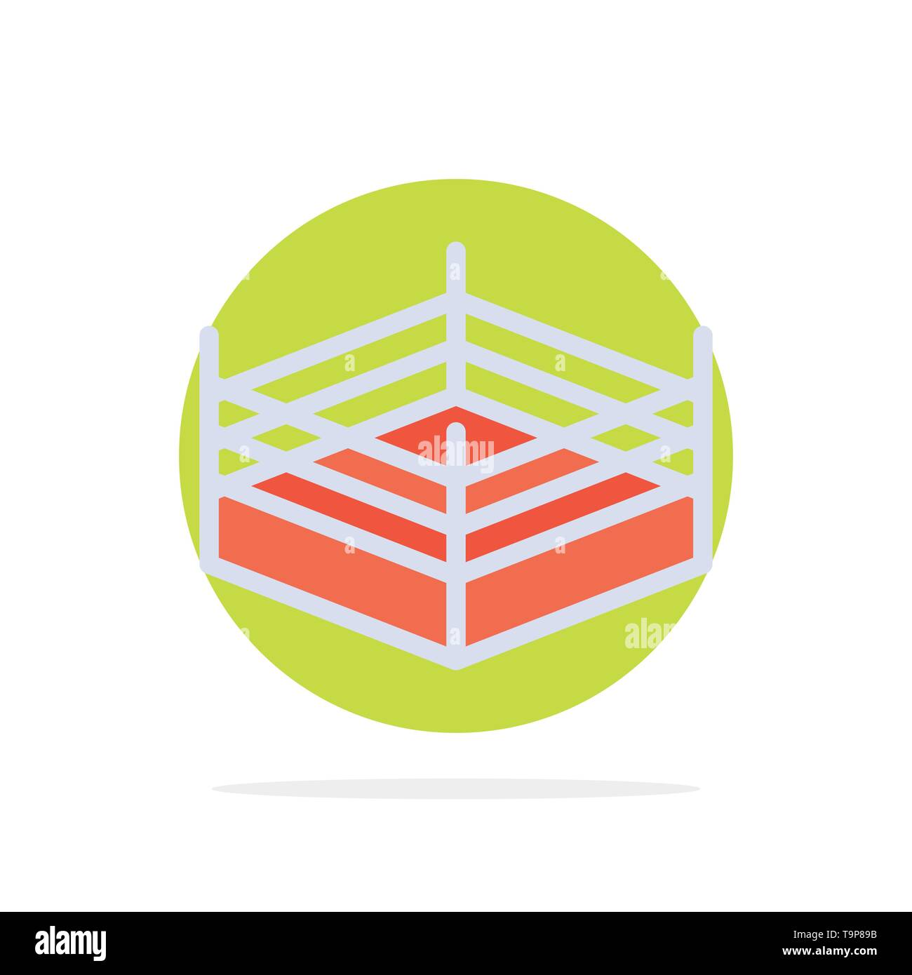 Boxing, Ring, Wrestling Abstract Circle Background Flat color Icon - Stock Image