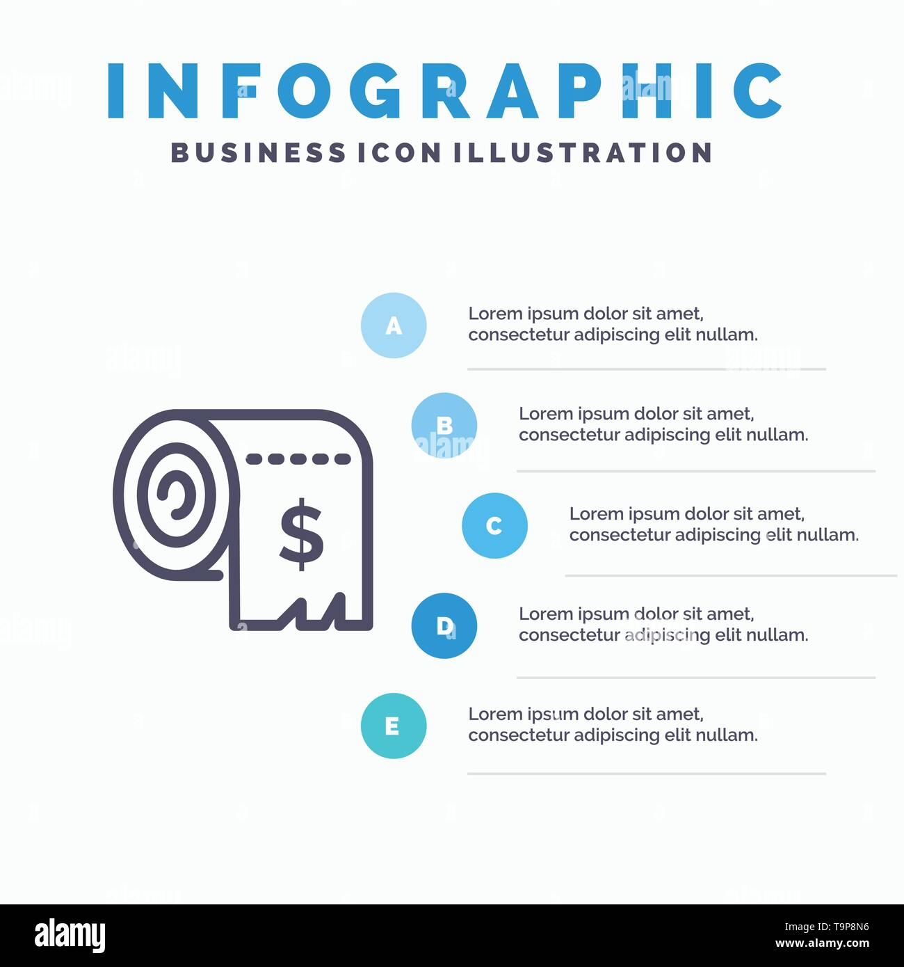 Budget, Consumption, Costs, Expenses, Finance Line icon with 5 steps presentation infographics Background - Stock Image