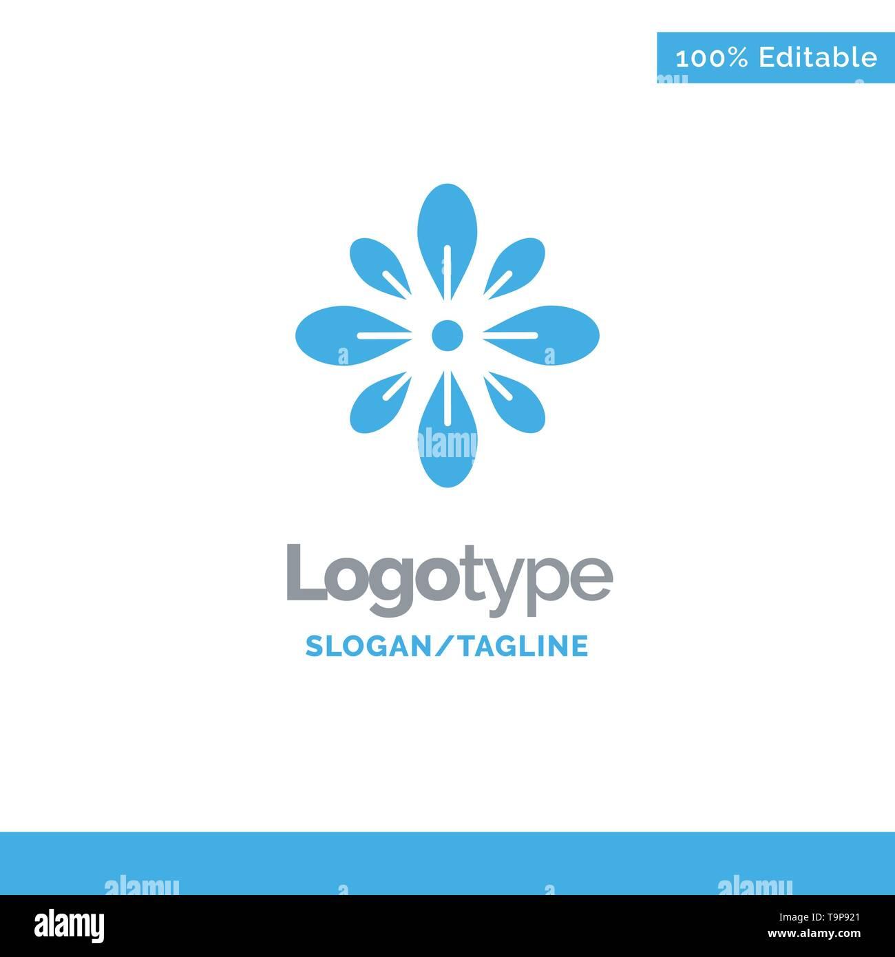 Celebrate, Decorate, Decoration, Diwali, Hindu, Holi Blue Solid Logo Template. Place for Tagline - Stock Image
