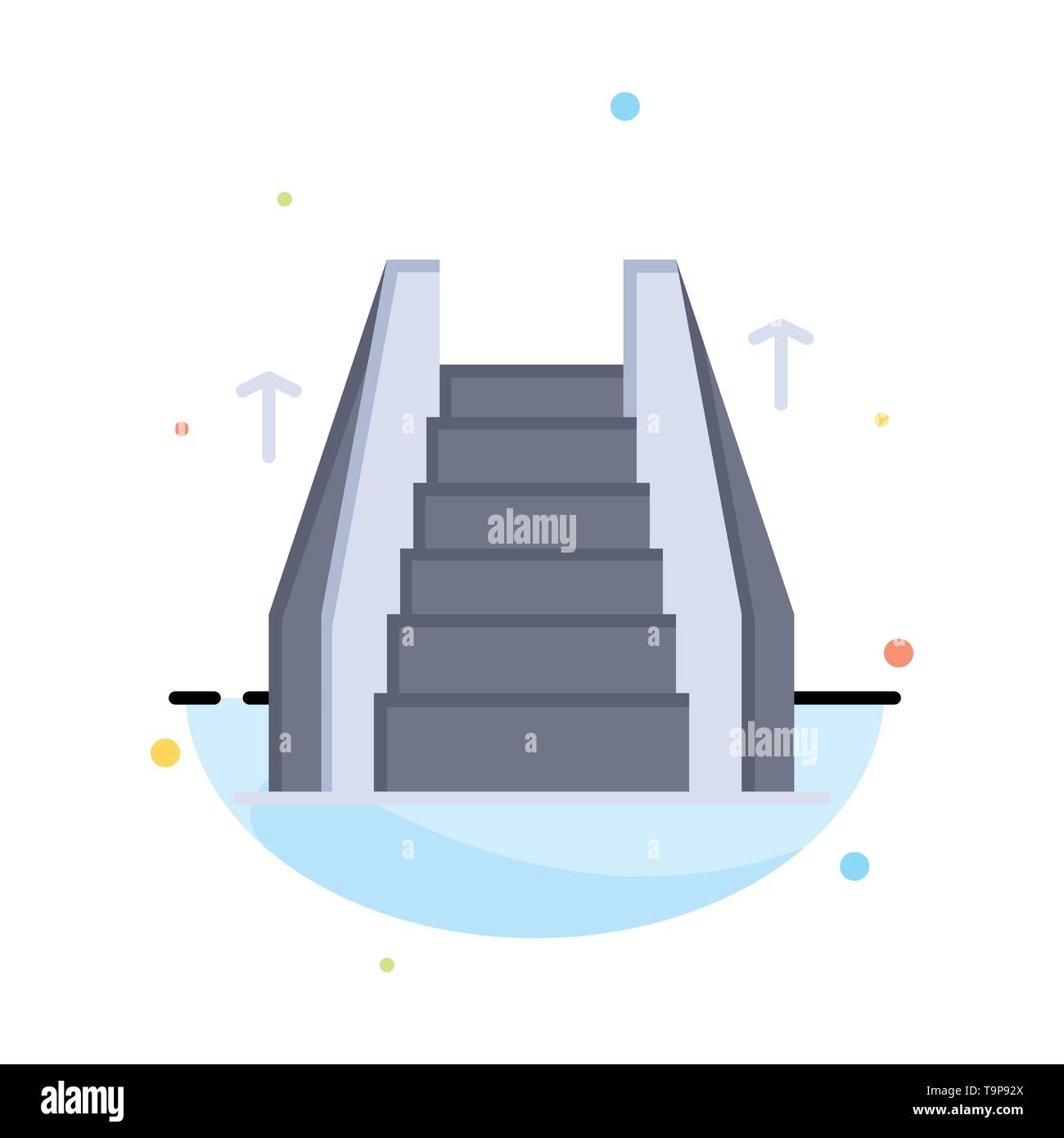 Stair, Elevator, Electric, Ladder Abstract Flat Color Icon Template