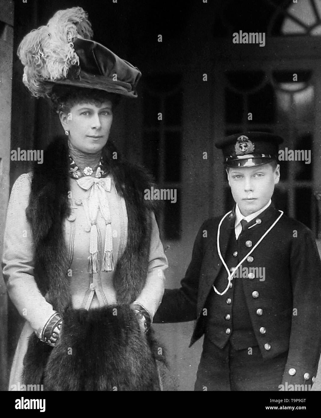 Queen Mary and the Prince of Wales - Stock Image