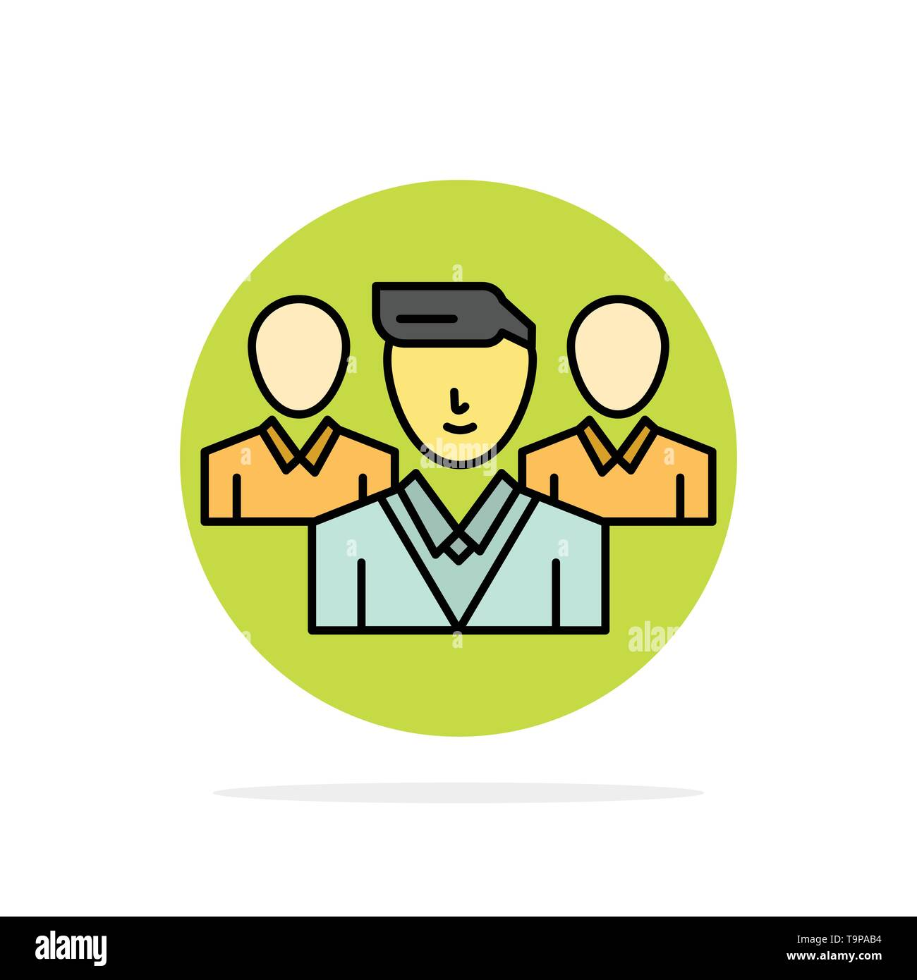 Staff, Security, Friend zone, Gang Abstract Circle Background Flat color Icon - Stock Image