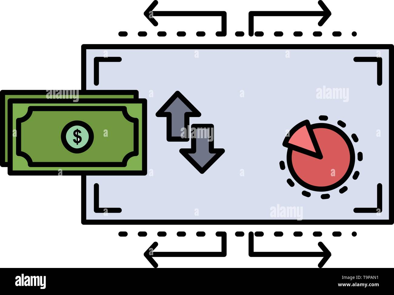 Finance, flow, marketing, money, payments Flat Color Icon Vector - Stock Image