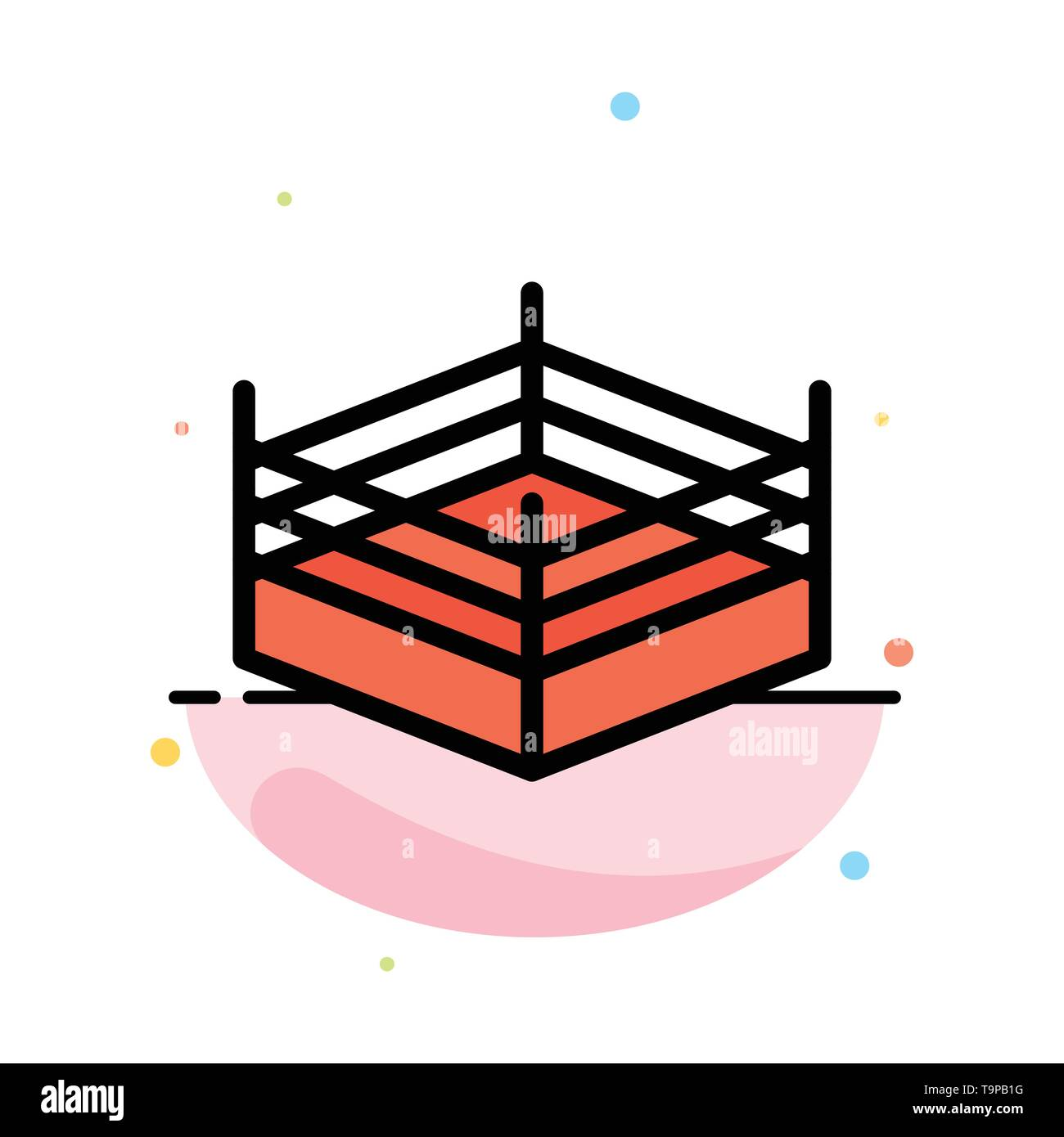 Boxing, Ring, Wrestling Abstract Flat Color Icon Template Stock Vector