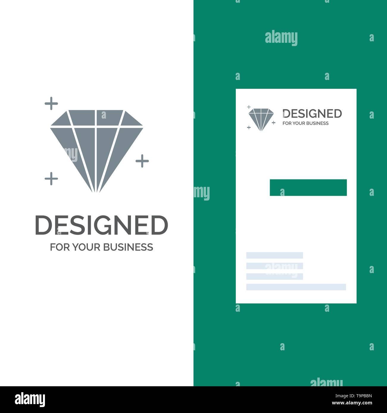 Diamond, Jewel, User Grey Logo Design and Business Card Template - Stock Image