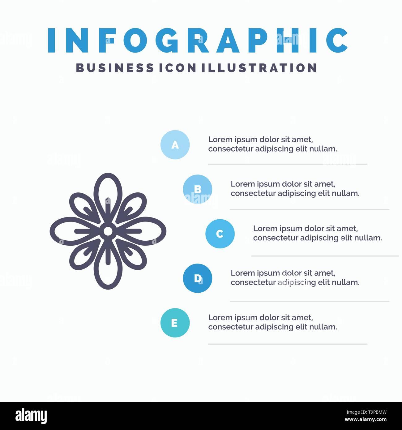 Celebrate, Decorate, Decoration, Diwali, Hindu, Holi Line icon with 5 steps presentation infographics Background - Stock Image