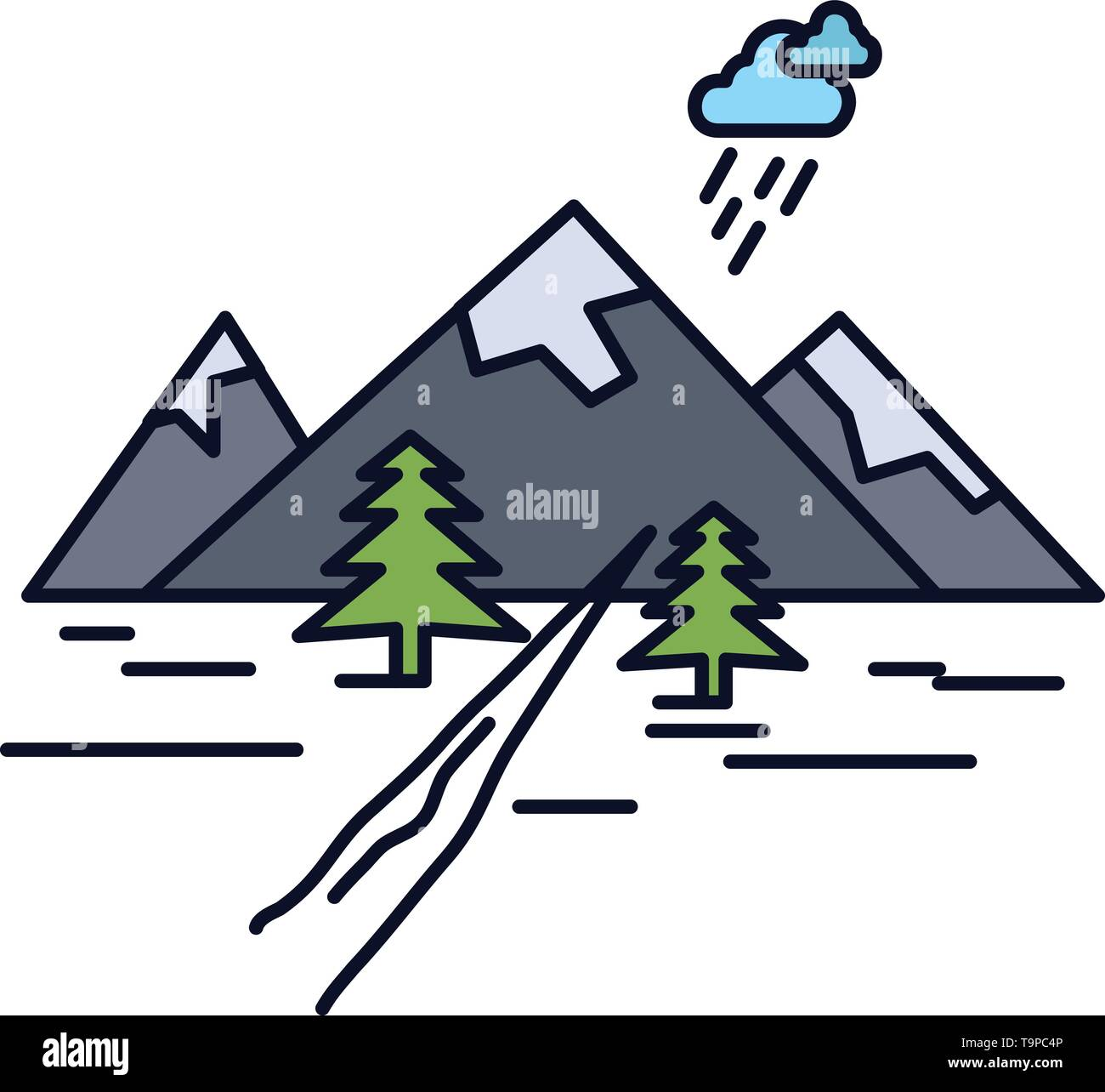 rocks, hill, landscape, nature, mountain Flat Color Icon Vector - Stock Image