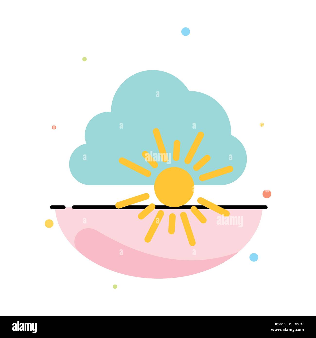Cloud, Nature, Spring, Sun Abstract Flat Color Icon Template - Stock Image
