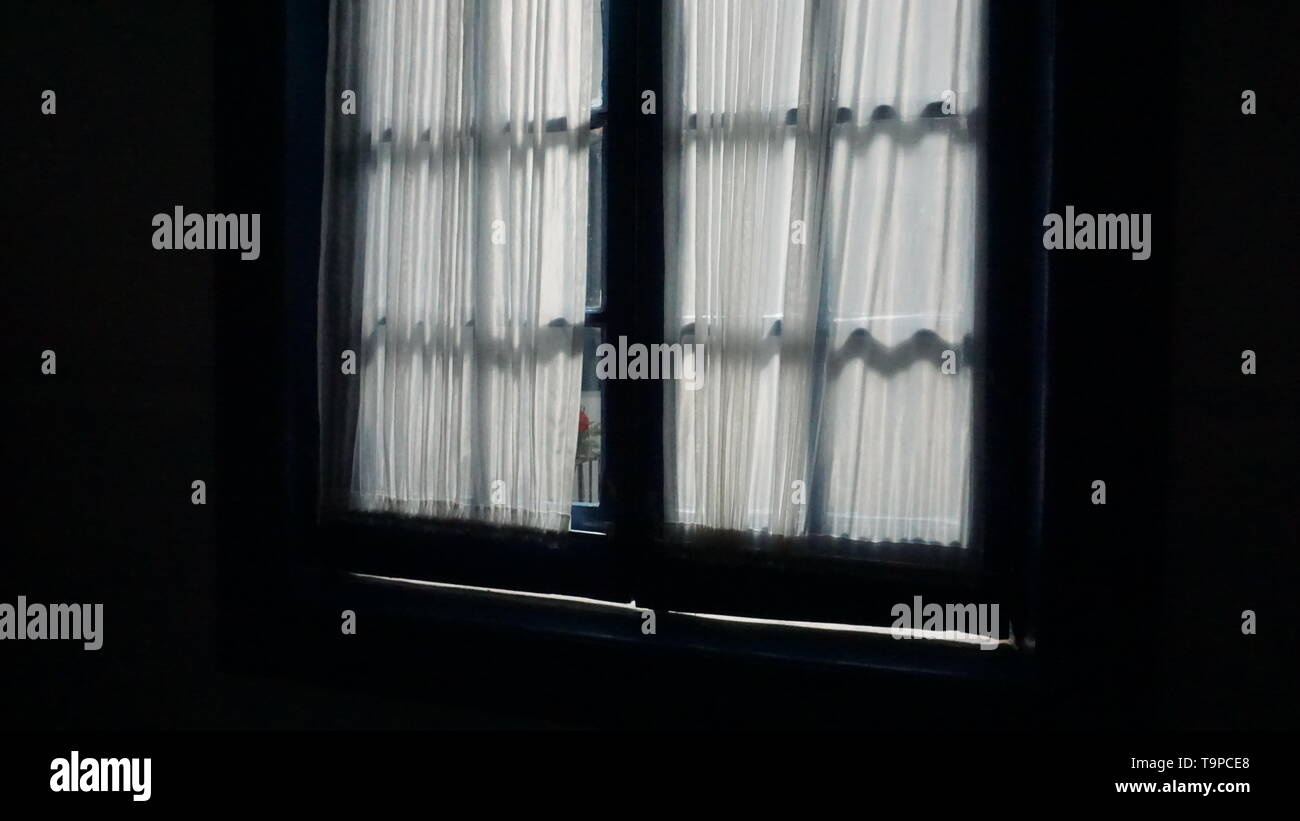 White Sheer Curtains Over Casement Windows Dark Inside Bright Light Outside A Metaphor For Isolation Agoraphobia Or Privacy Stock Photo Alamy