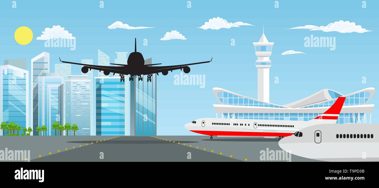Airport building and planes with nice cityscape in