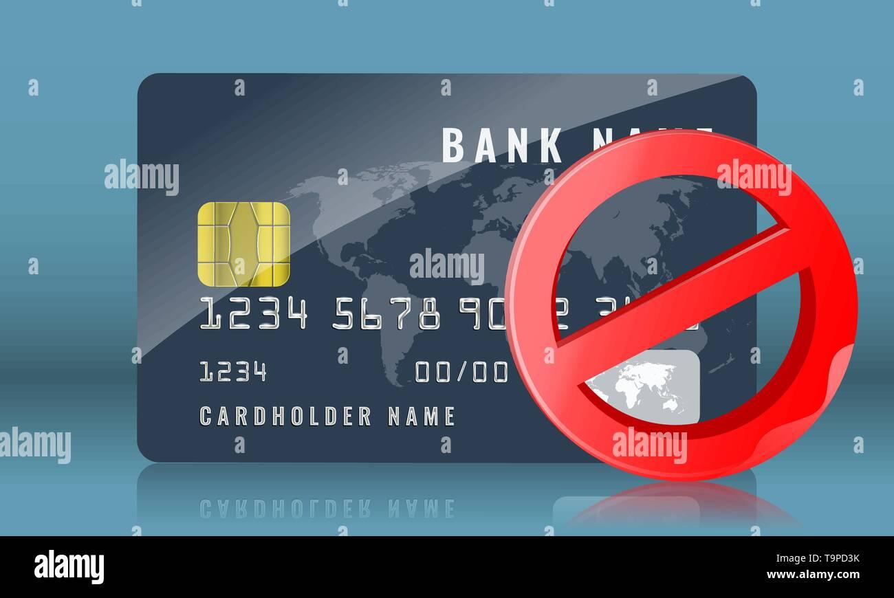 Blocked credit or bank card concept illustration. Vector illustration. - Stock Image