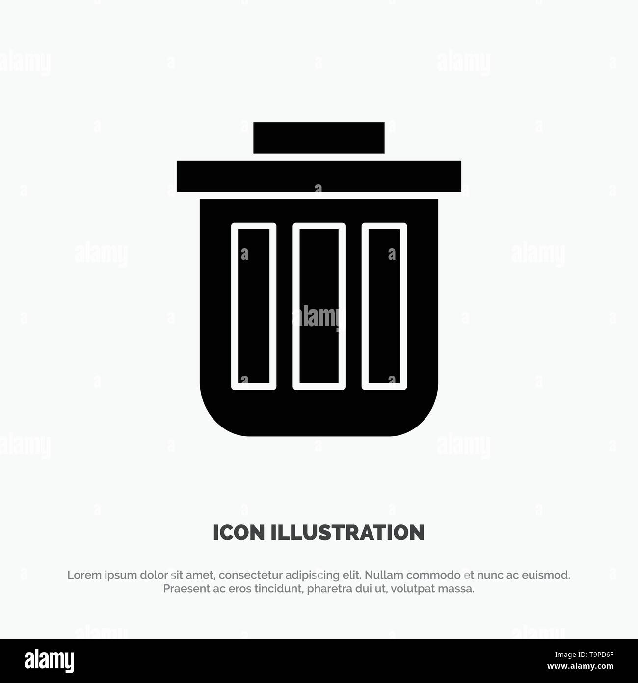 Trash, Basket, Bin, Can, Container, Dustbin, Office solid Glyph Icon vector - Stock Image