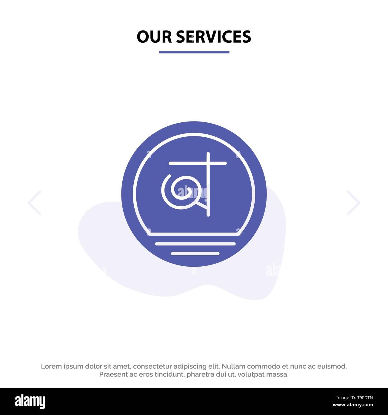 Our Services Bangla, Bangladesh, Bangladeshi, Business Solid Glyph Icon Web card Template - Stock Image