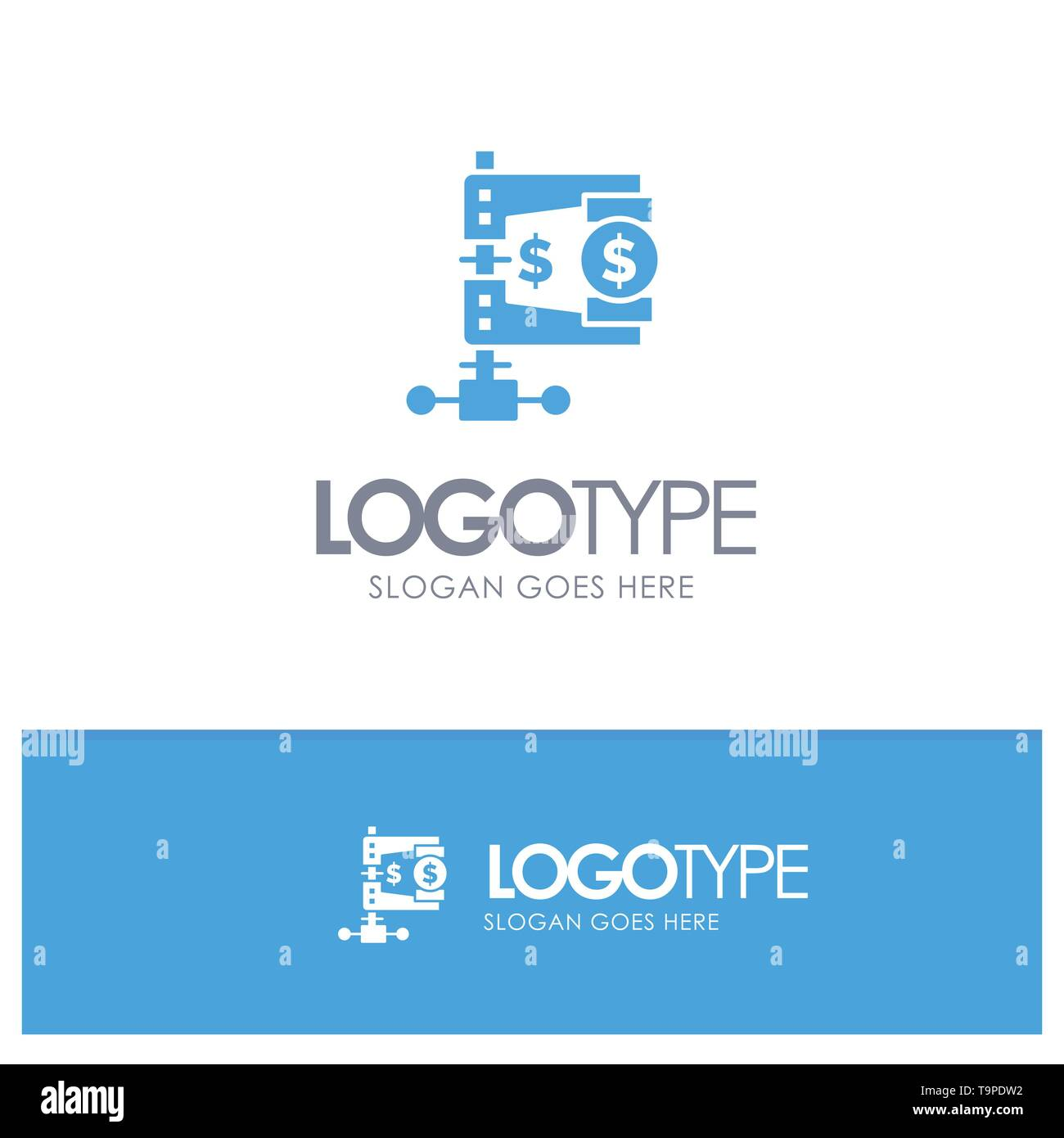 Business, Finance, Income, Market, Reform Blue Solid Logo with place for tagline - Stock Image
