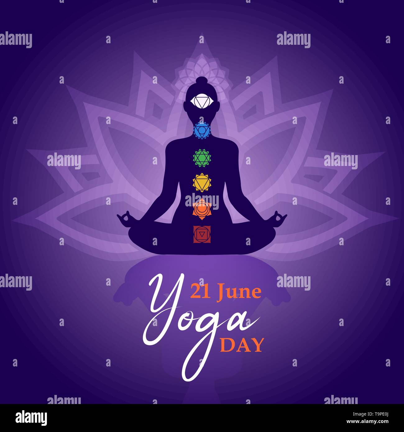 Yoga Day Greeting Card Illustration For Meditation Exercise Concept With Woman Silhouette In Lotus Pose And Chakra Icons Stock Vector Image Art Alamy