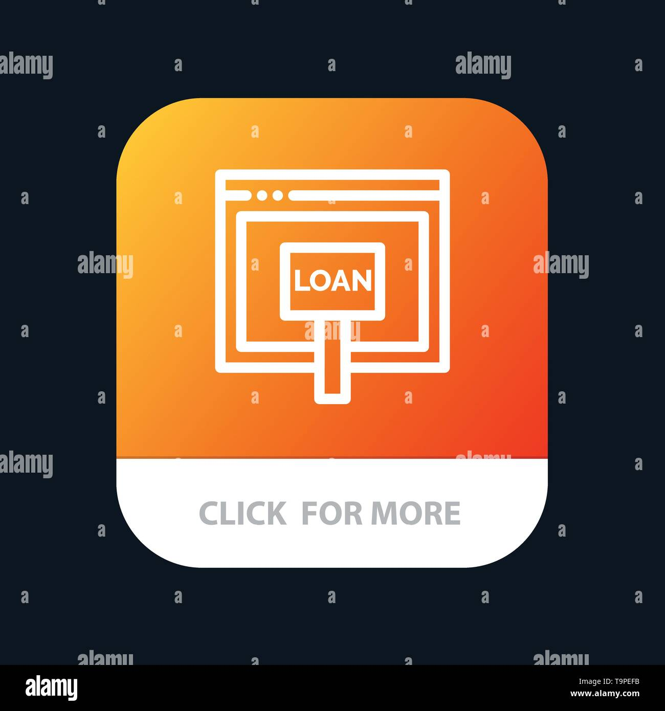 Credit, Internet, Loan, Money, Online Mobile App Button. Android and IOS Line Version - Stock Image