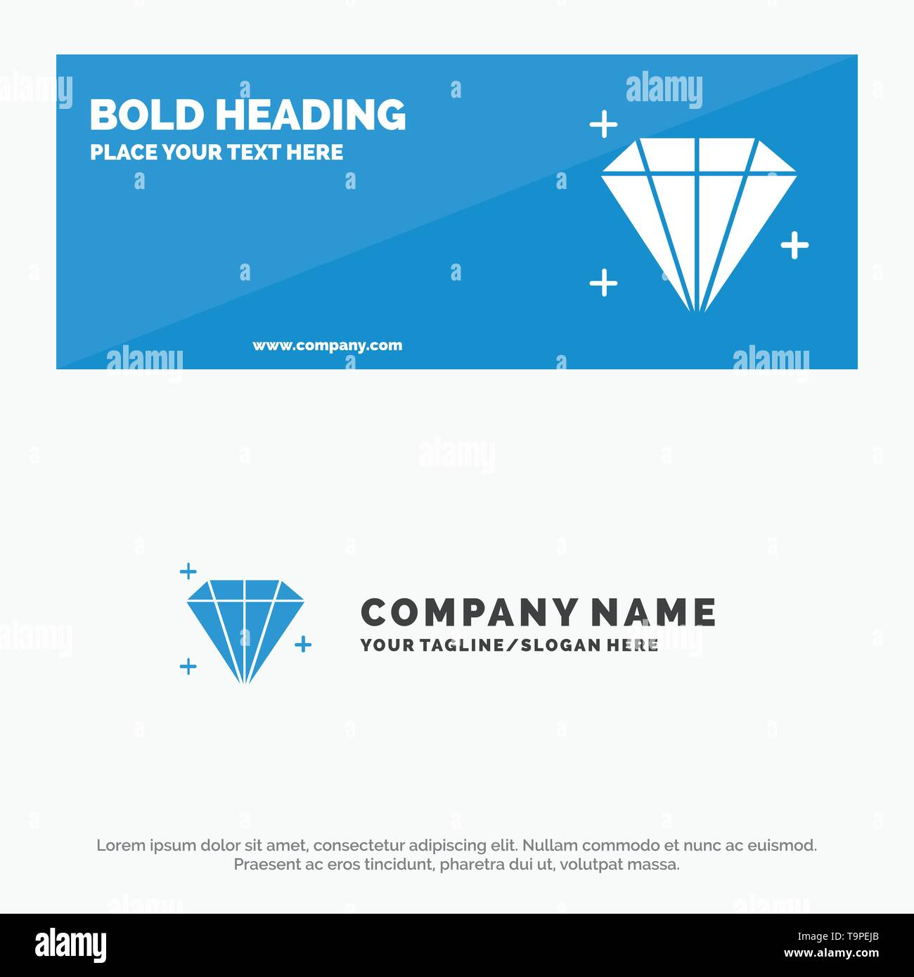 Diamond, Jewel, User SOlid Icon Website Banner and Business Logo Template - Stock Image