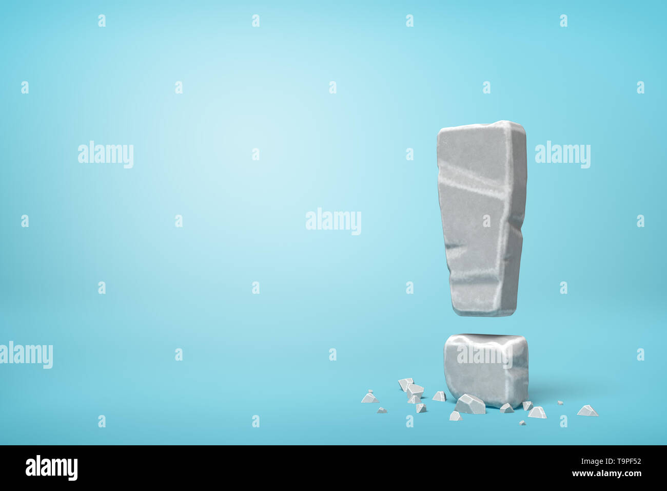 3d rendering of stone concrete exclamation mark on blue background - Stock Image