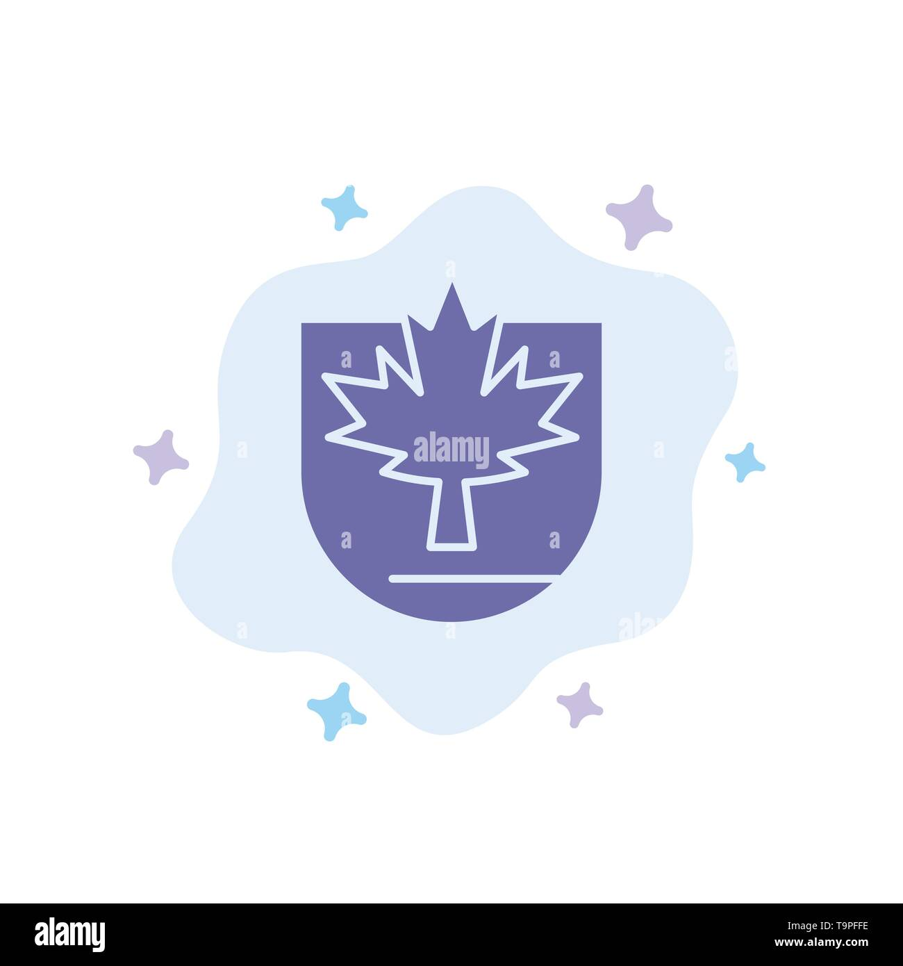 Security, Leaf, Canada, Shield Blue Icon on Abstract Cloud Background - Stock Image