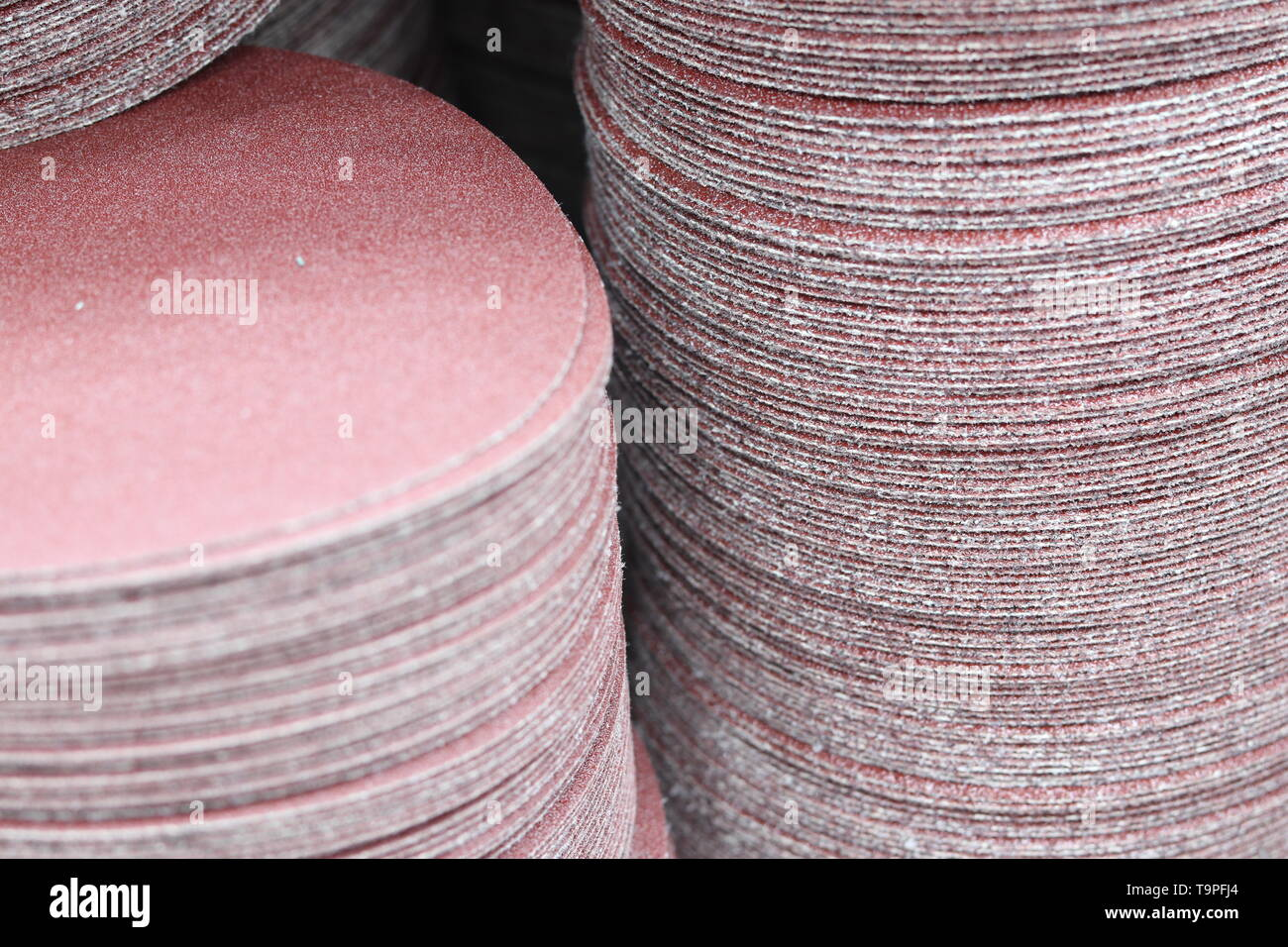 the Stack of sand paper disk ; for manufacturing process - Stock Image