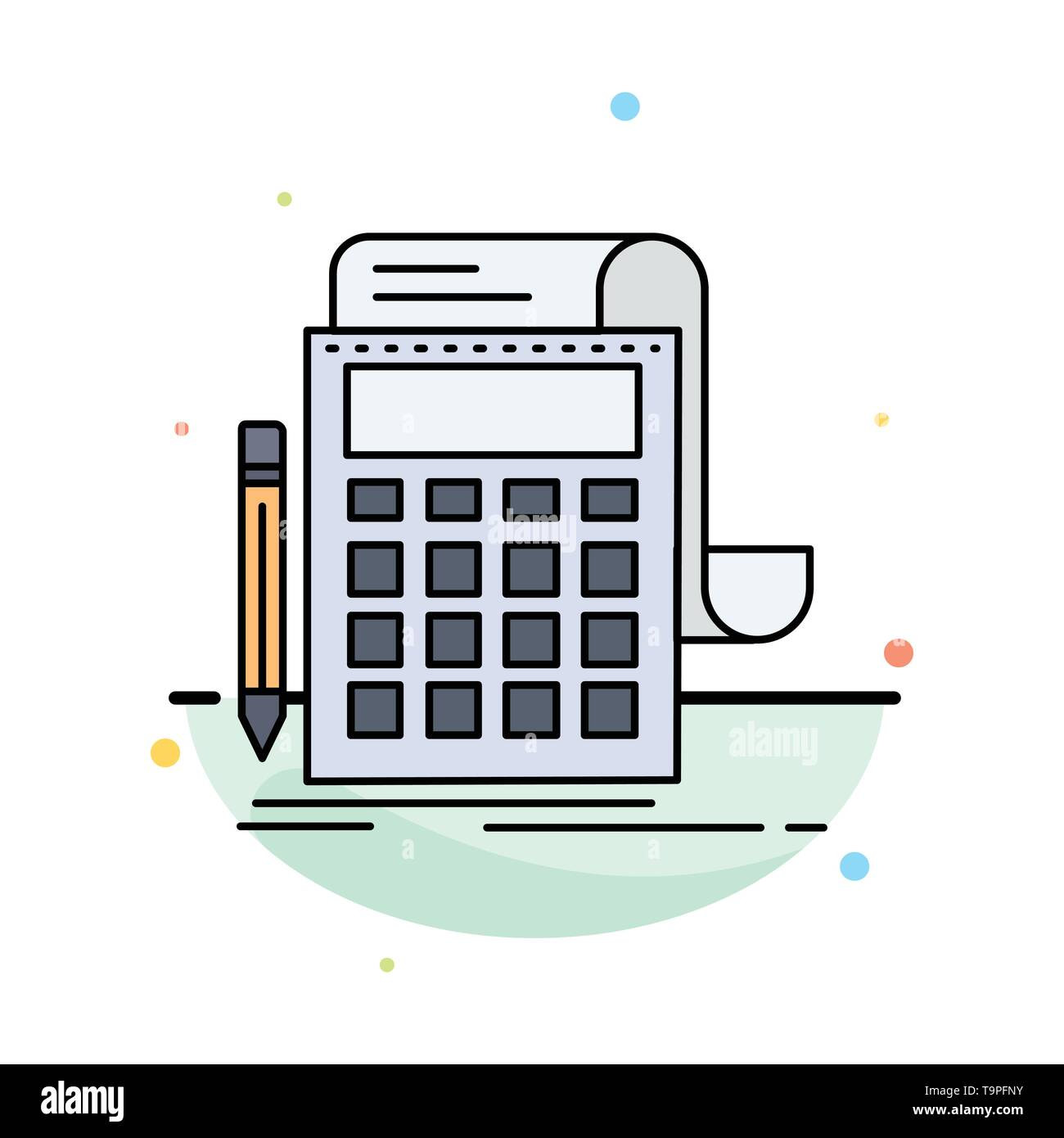 Accounting, audit, banking, calculation, calculator Flat Color Icon Vector - Stock Image