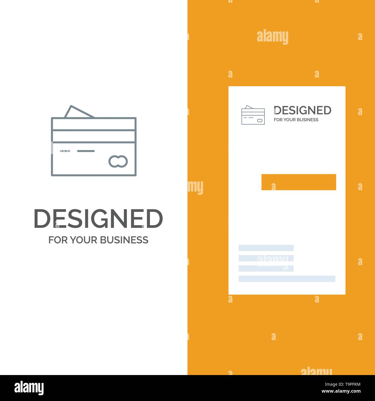 Credit card, Banking, Card, Cards, Credit, Finance, Money, Shopping Grey Logo Design and Business Card Template - Stock Image