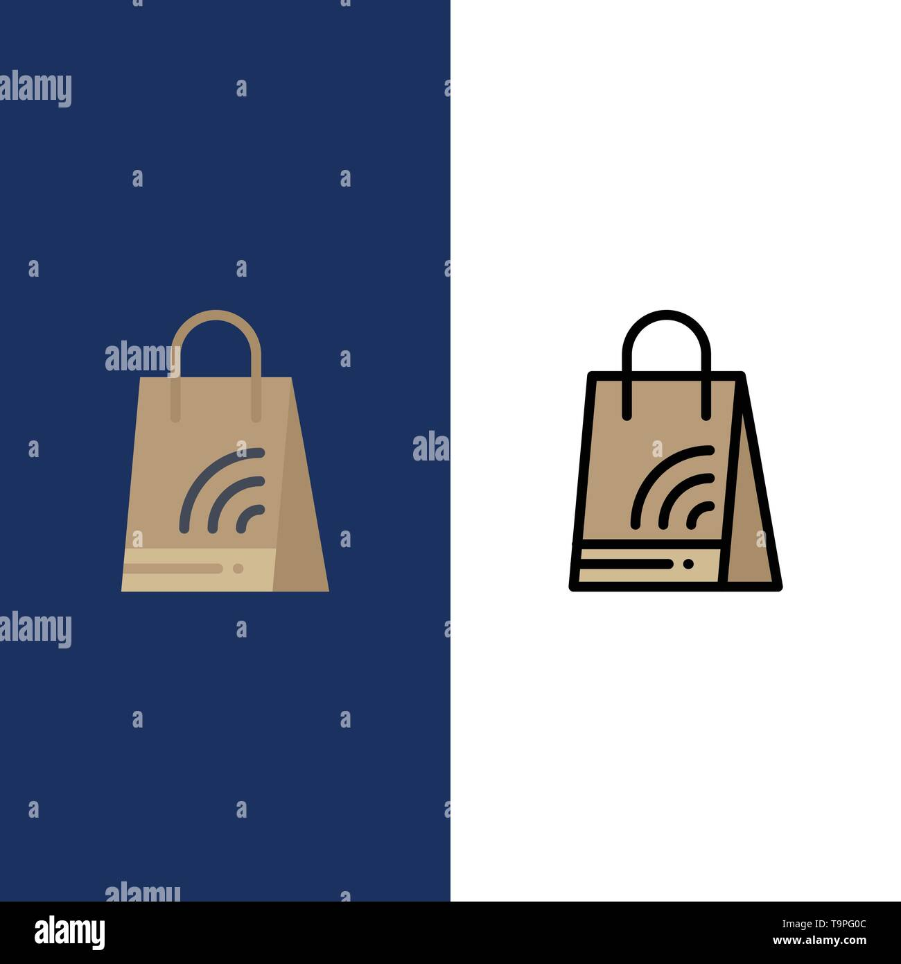 Bag, Handbag, Wifi, Shopping  Icons. Flat and Line Filled Icon Set Vector Blue Background - Stock Image