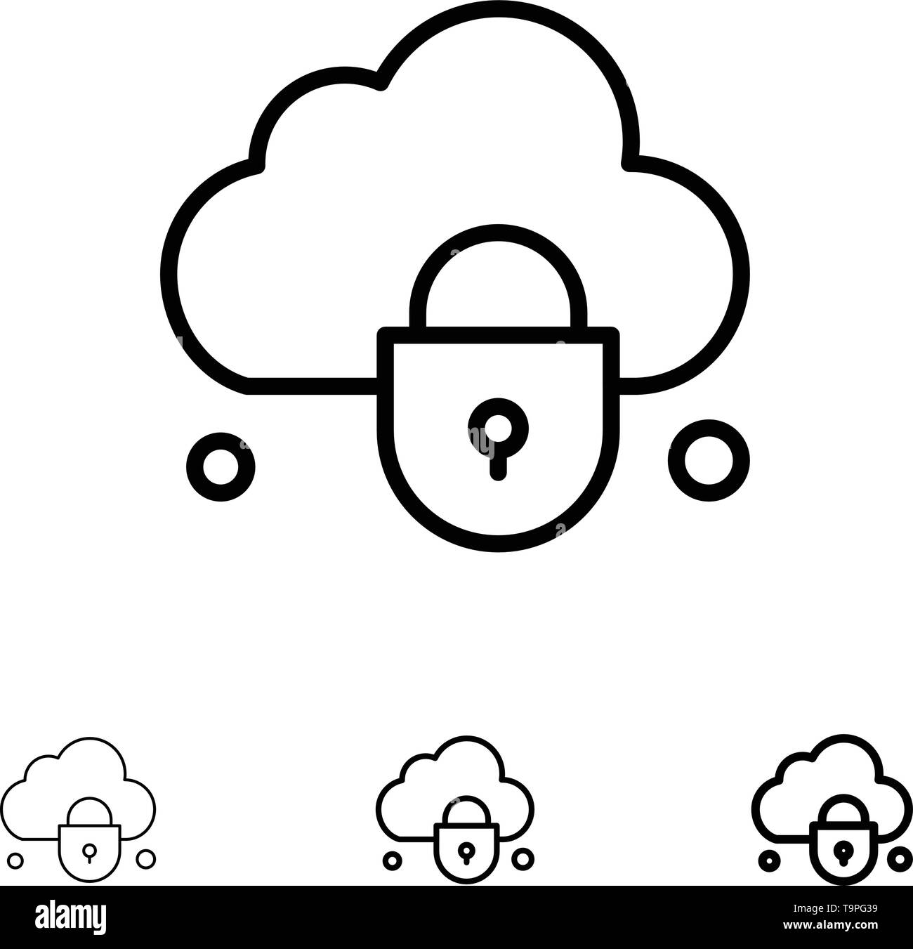 Internet, Cloud, Lock, Security Bold and thin black line icon set - Stock Image