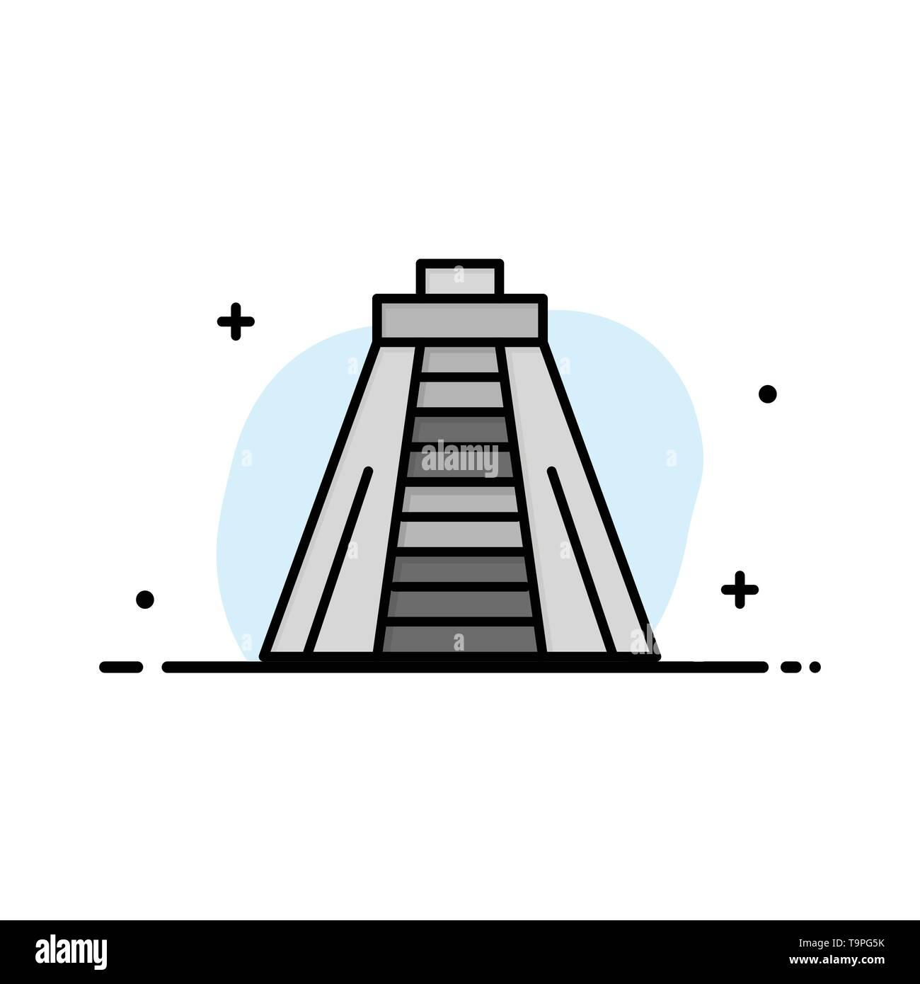 Chichen Itza, Landmark, Monument Business Logo Template. Flat Color - Stock Image