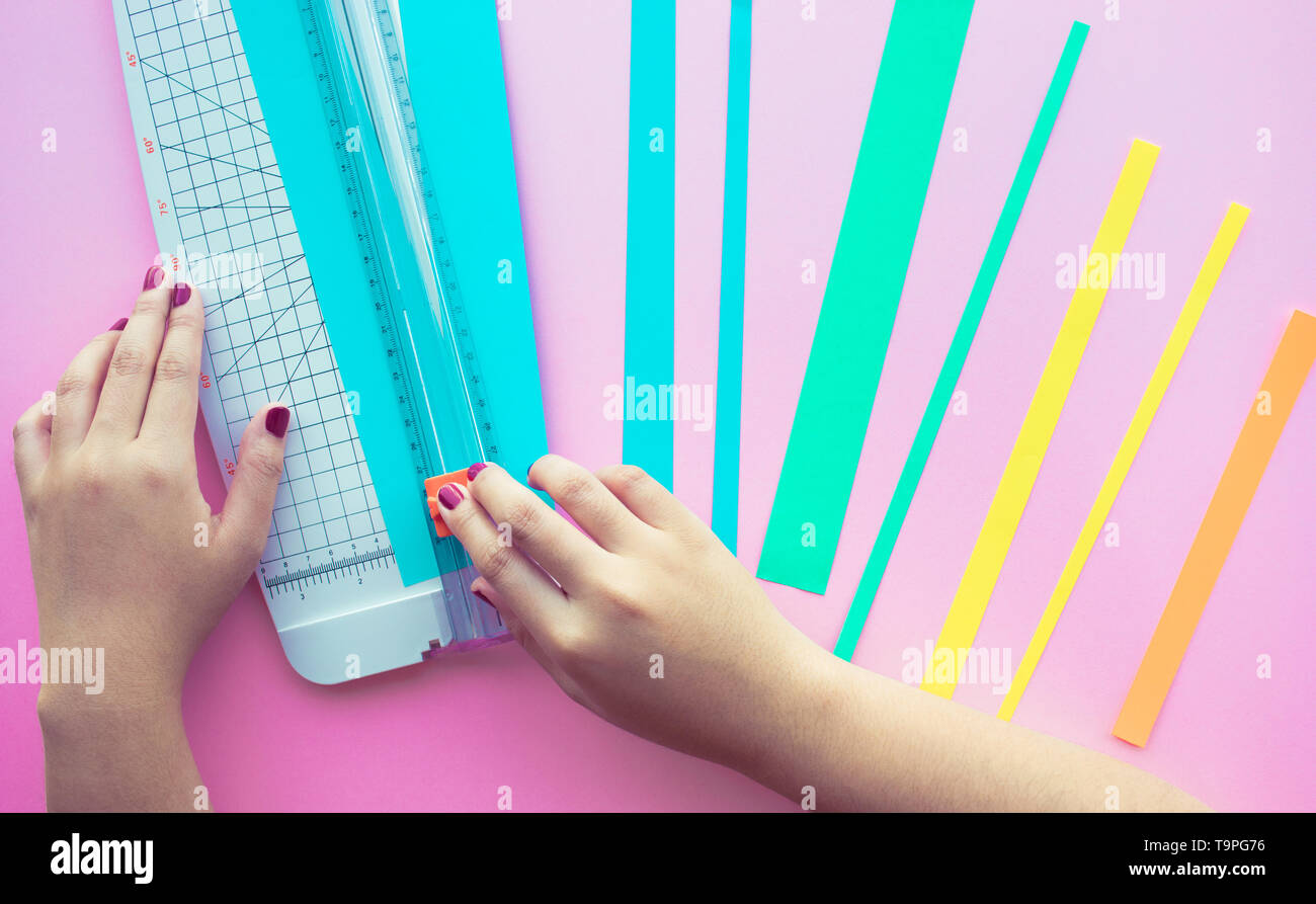 Young woman making paper art in colorful with pink space background.Hobby decoration design - Stock Image