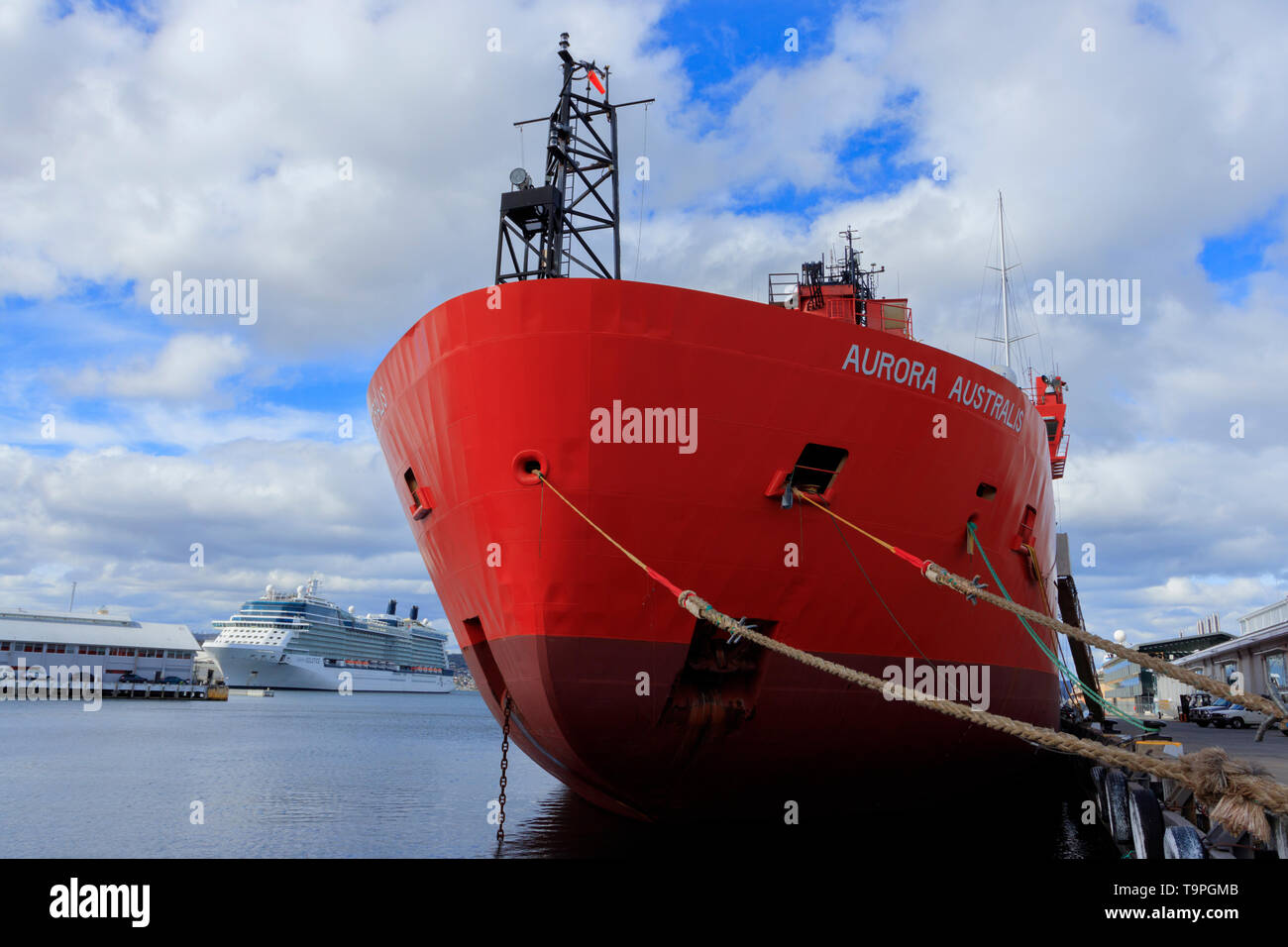 The Aurora Australis is the Australian Government's Antarctic research and resupply ship which operates out of the port city of Hobart in Tasmania Aus - Stock Image