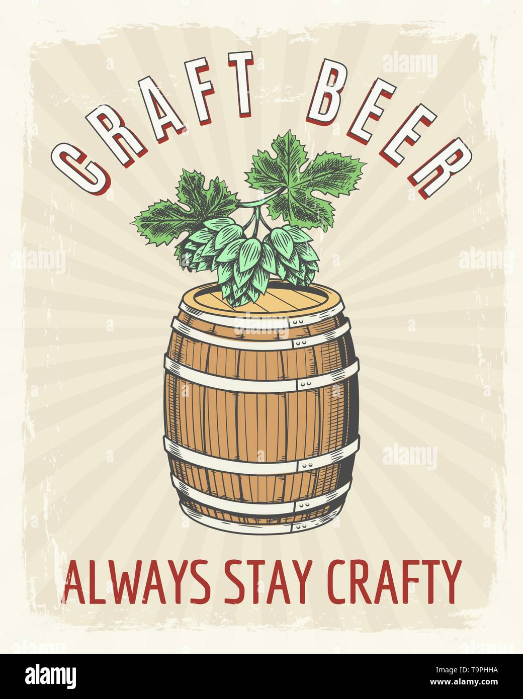 Craft beer vintage poster. Artisanal crafted brewing good ale vector retro illustration, crafting beer barrel drawing graphics - Stock Vector