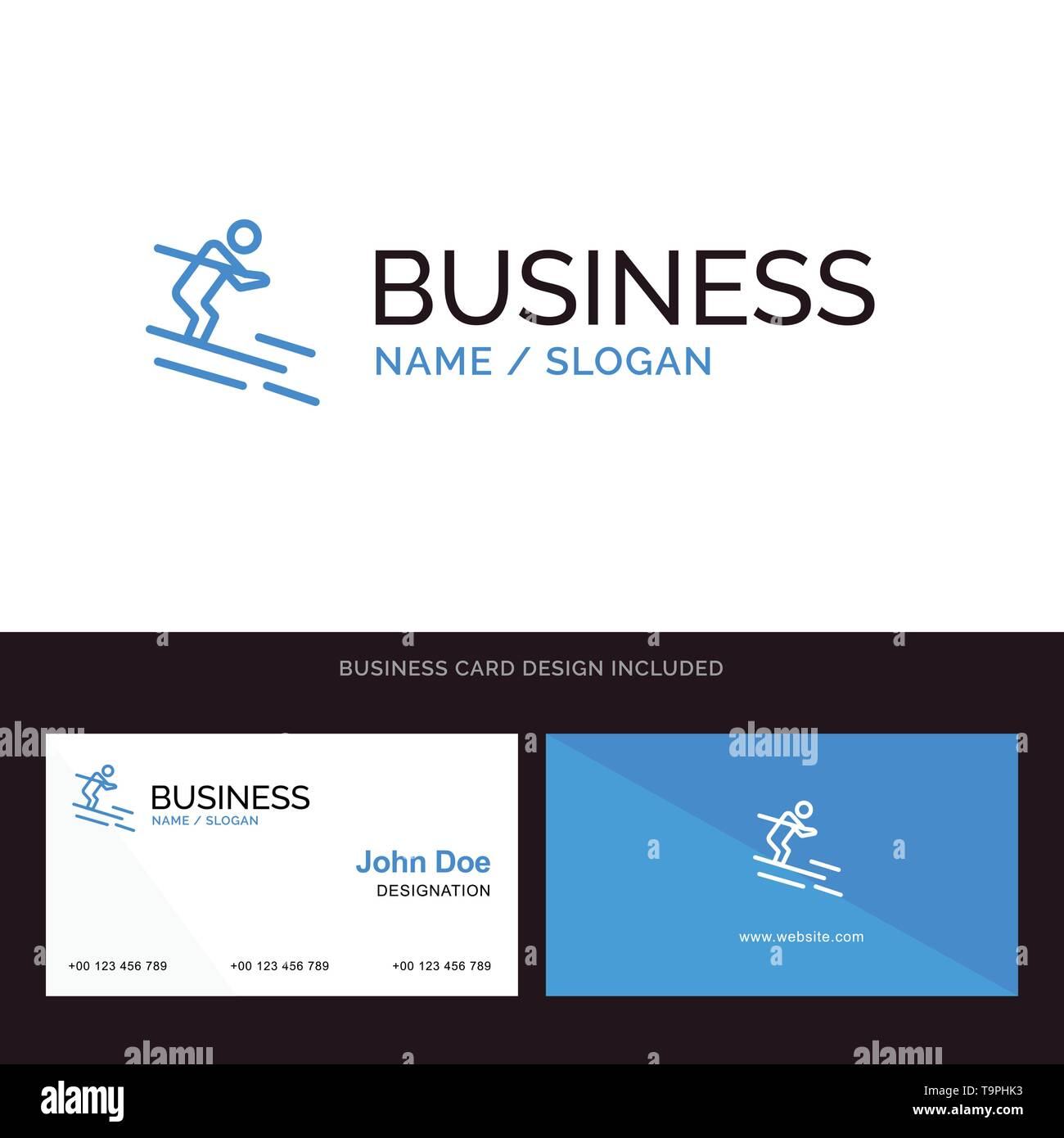 Activity, Ski, Skiing, Sportsman Blue Business logo and Business Card Template. Front and Back Design - Stock Image