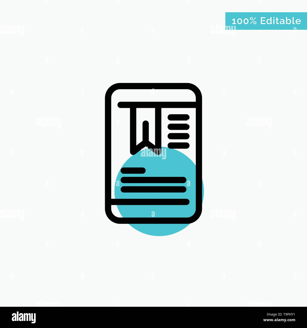 Mobile, Tag, OnEducation turquoise highlight circle point Vector icon - Stock Image