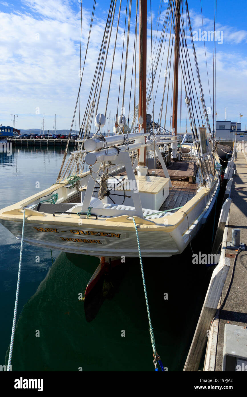 The ketch May Queen was built in 1865 at Franklin on the Huon River and is now at Constitution Dock in Hobart Tasmania.   The May Queen is the oldest  - Stock Image
