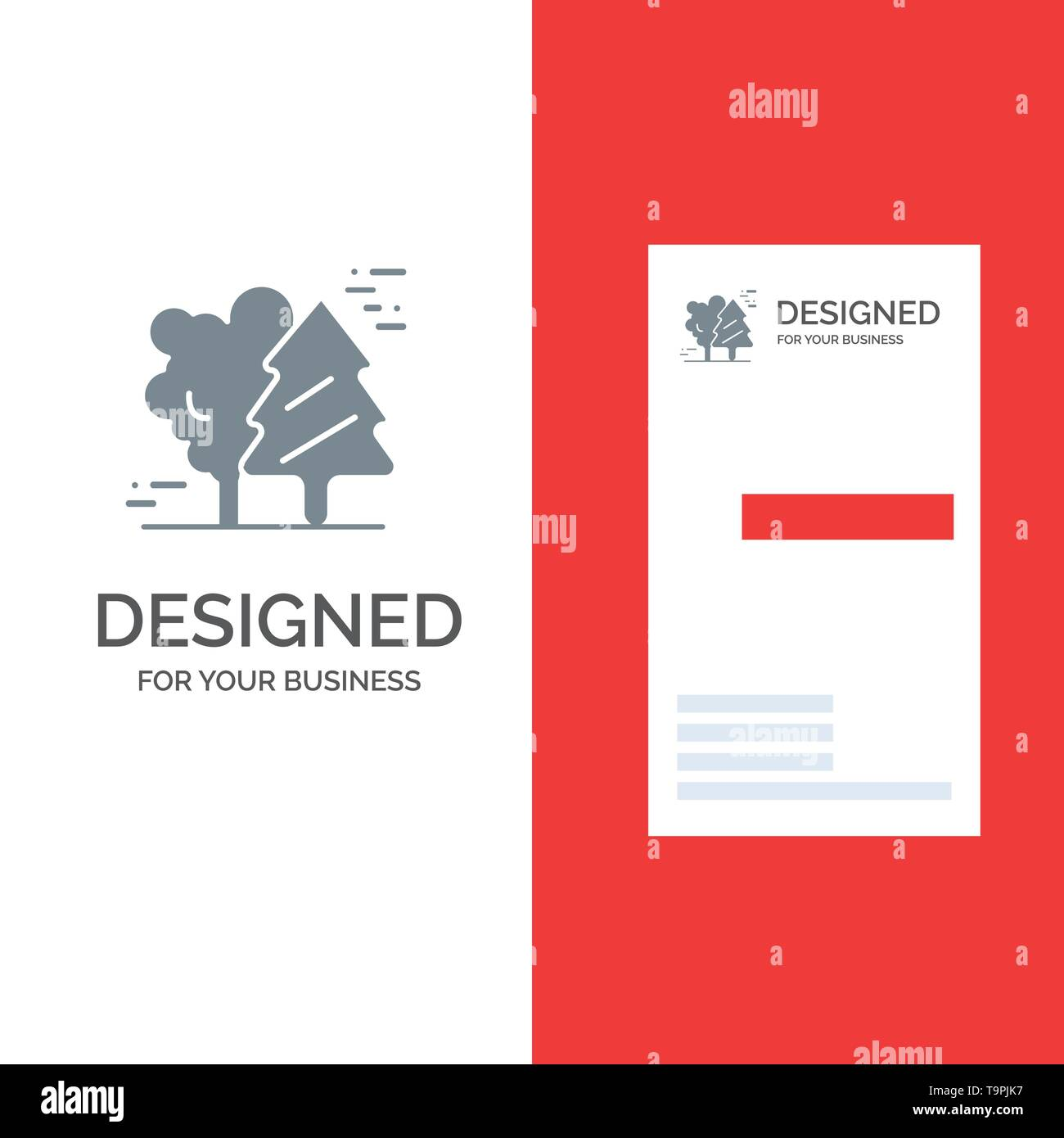 Alpine, Arctic, Canada, Pine Trees, Scandinavia Grey Logo Design and Business Card Template - Stock Image