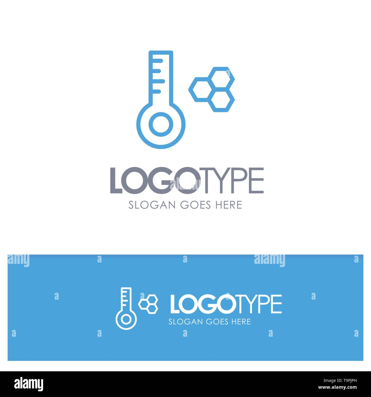 Temperature, Temperature Meter, Thermometer Blue Outline Logo Place for Tagline - Stock Image