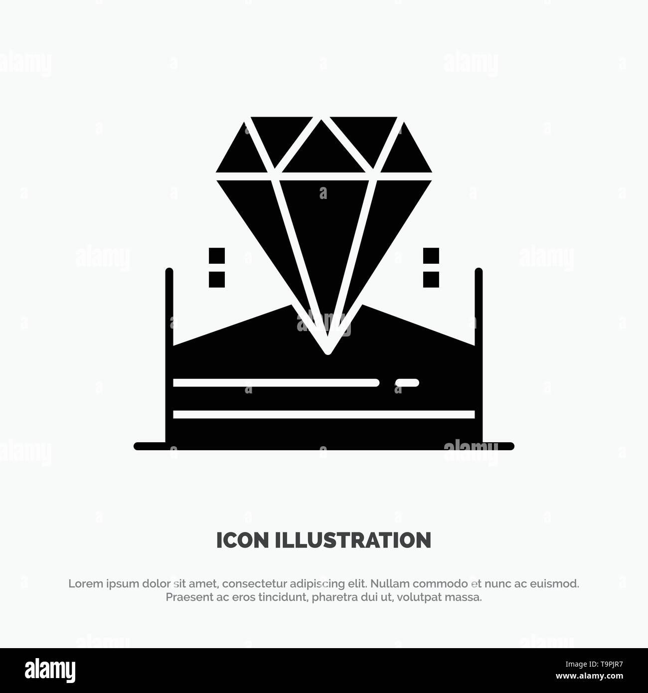 Brilliant, Diamond, Jewel, Hotel Solid Black Glyph Icon - Stock Image