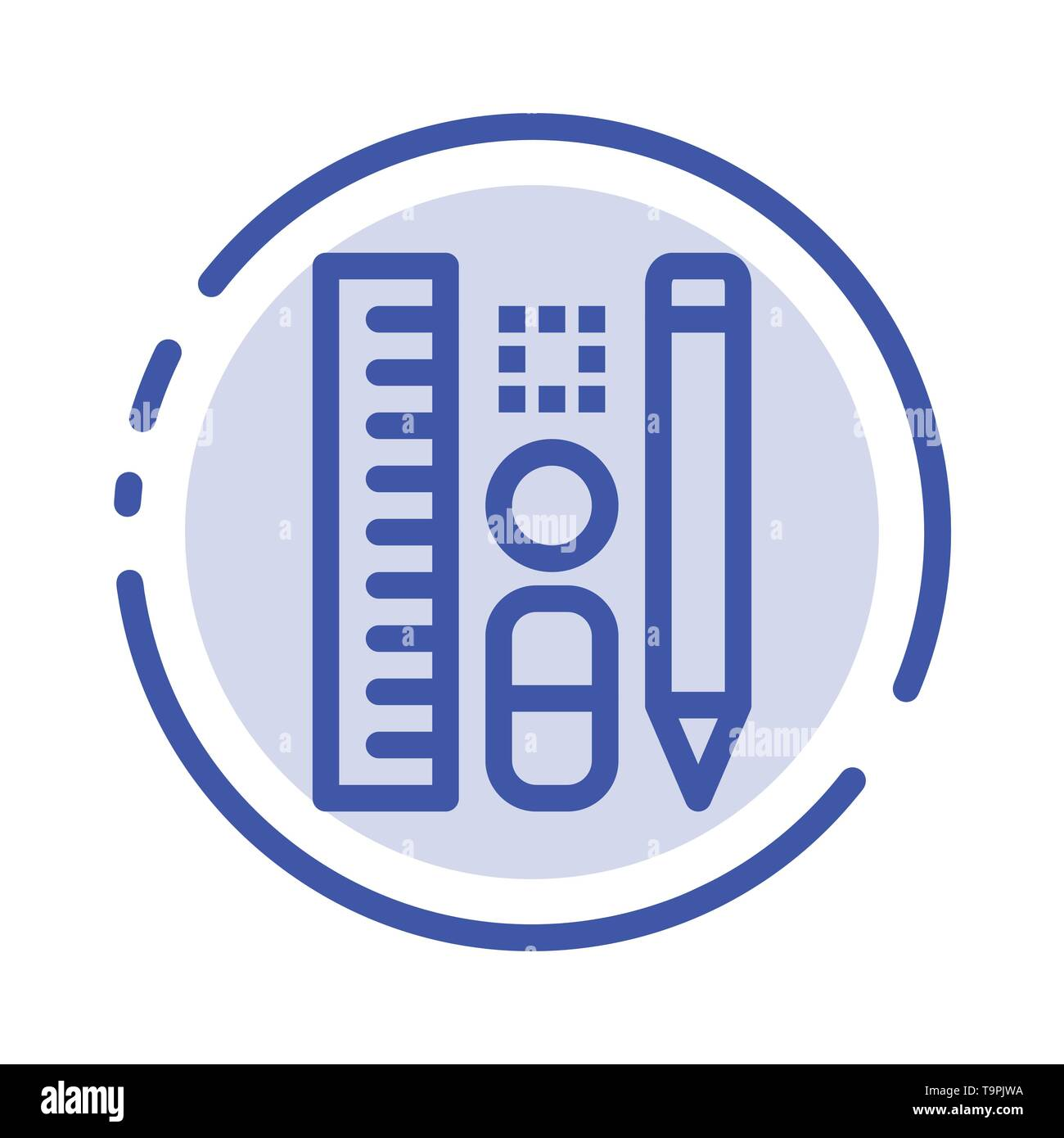 Pen, Pencil, Scale, Education Blue Dotted Line Line Icon - Stock Image