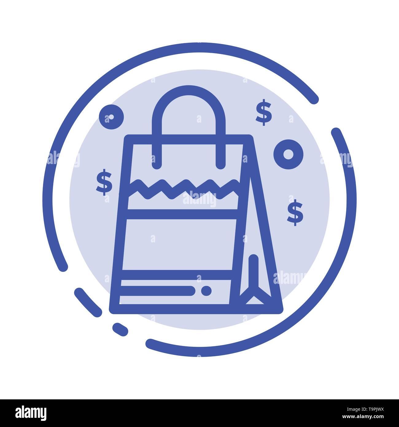 Bag, Handbag, Usa, American Blue Dotted Line Line Icon - Stock Vector