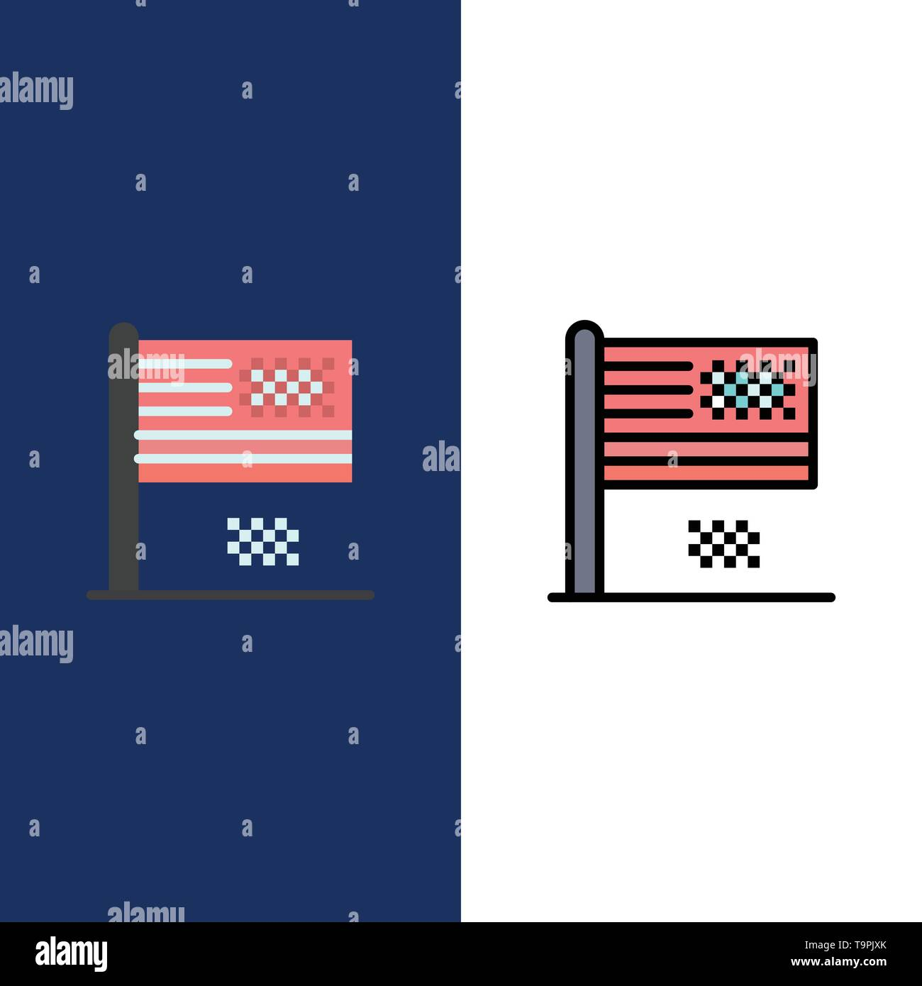 American Dream, Collapse, Decline, Fall, Flag  Icons. Flat and Line Filled Icon Set Vector Blue Background - Stock Image